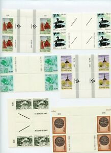 Aland MNH Gutter Pair Lot Blocks Ducks Emblem High Values 1980/90s G613