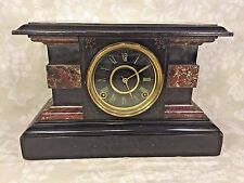 Antique Welch Faux Marble and Wood Mantel Clock Reno? Model Runs Strikes