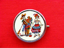 DAY OF THE DEAD SKELETON RING TRINKET STASH ROUND MINT METAL PILL BOX CASE