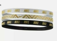 New Women's Nike Gold/White/Black Metallic Headbands 6 Total 2 Packs One  Sz $30
