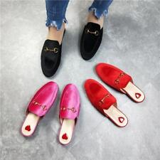Backless Womens Flats Slip On Casual Buckle Slipper Loafers Mules Shoes Velvet