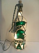 Michigan State Inspired Wine Bottle Lamp Lighted Handpainted Stained Glass Look