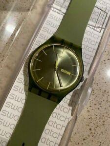 SWATCH OLIVE REBEL WATCH SUOG700 GREEN DAY DATE 41MM WATCH, MINT, ORIGINAL CASE