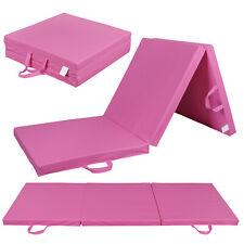 Pink Exercise Non-Slip Tri-Fold PU Leather Gym Mat For Gymnastics Yoga 6'x2'