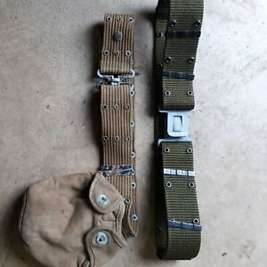 2 Vintage US Military Canvas Belts Woven Army Marines with canteen pouch early!