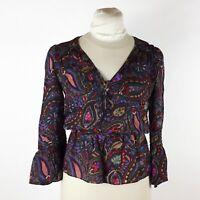 Parker Multi Color Floral Blouse Sz XS 100% Silk Peplum Bell Sleeve V Neck