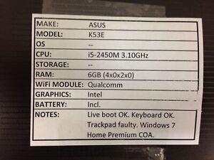 Asus K53E *Parts/Repair* i5/6GB/BATT - No OS/HDD/CHRG