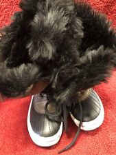 Faux Fur Lined Girls Lace Up Boots Pre-Owned Size 1
