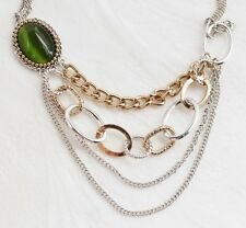 Croft & Barrow Gold Silver Tone Green Cabochon Chain Swag Necklace