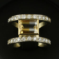 Designer Brillant Citrin Ring mit ca. 2,61 ct.