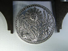 """Nice 1 3/8"""" wide Round Sterling Silver  Floral Brooch with Marcasite Accents"""