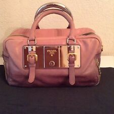 PRADA Bauletto Glace Zippers Bowler Purse ~ Gradient Nude-to-Slate