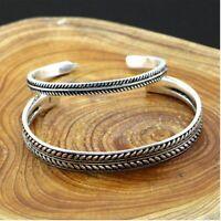 Damen Armband Silber 925 Armreif Federblätter Verdreht Einstellbar Geschenk Neu.