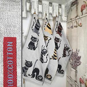 3er Set 100% Baumwolle zweiseitige Küchentücher 35x75cm Geschirrtücher Katzen