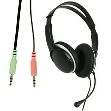 3.5mm Stereo Headset Headphones Volume Control Microphone Mic - VOIP Skype MP3
