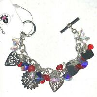 Chunky Charm Bracelet Snowflakes Hearts Flowers