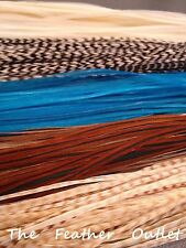 Lot 10 Grizzly Feathers Hair Extensions saddle Turquoise Natural Browns NATIVE