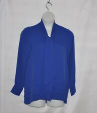 Joan Rivers Tie Neck Blouse With Layer Detail Size 1X Blue