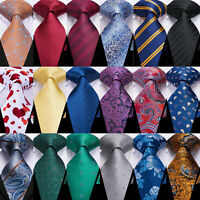 Men Silk Tie Set Gold Blue Red Teal Paisley Solid Floral Striped Necktie Hanky