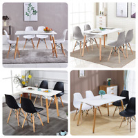 5Pcs Modern Dining Table + Dining Chairs Set 4Pcs Chairs Dining Room Retro Style
