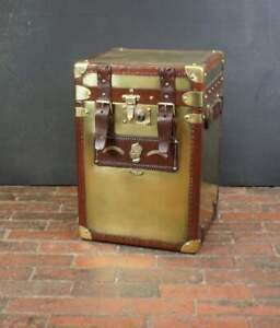 Antique Leather Occasional Side Table Trunk Solid - Brass & Leather