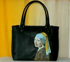 Womens leather bag hand painted Art handmade Italy tote handbag shoulder bag