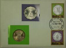 1972 Malta 5 Mils and 5 Cents Two UNC Coins PNC Altar of Hagar Qim Mnara Lamp