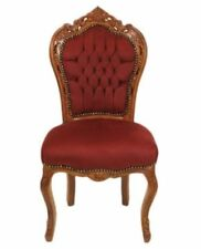 CHAIRS FRANCE BAROQUE STYLE DINING ROYAL CHAIR MAHOGANY / BURGUNDY #60ST5