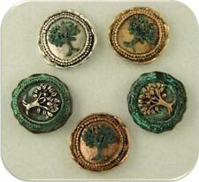 2 Hole Beads Tree of Life Wax Seals Silver Copper Gold Verdigris 4T Sliders QTY5