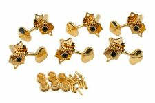 Grover Sta-Tite V97G guitar tuners, 14:1, solid peghead, gold, butterbean
