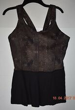 LULULEMON City Tank Black Golden Godess Pleated Peplum Run Bra Top Size 10