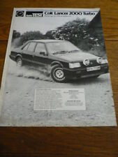 COLT ( MITSUBISHI) LANCER 2000 TURBO ROAD TEST BROCHURE