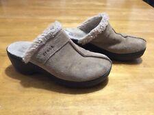 CROCS Tan Suede Clog SHOES Slides Comfort Ladies size 9 ?