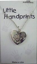 June birthstone hand on heart necklace,alexandrite crystal,silvertone,giftcard