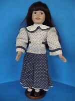 "VINTAGE COUNTRY STYLE DOLL PORCELAIN FACE-HANDS AND LEGS 18"" TALL WITH STAND"