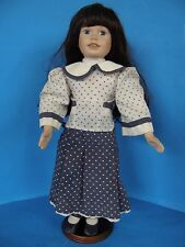 """VINTAGE COUNTRY STYLE DOLL PORCELAIN FACE-HANDS AND LEGS 18"""" TALL WITH STAND"""