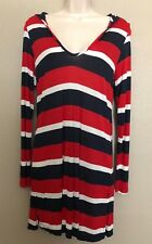 $89 (NWT) Nautica Red/Blue/White Striped Hooded Swimsuit Cover Up Tunic Size S