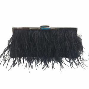 INC Carolyn Feather Pouch Clutch, Black Evening Bag
