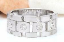 MENS 0.40 Carat Natural Diamond 14K White Gold Band Ring