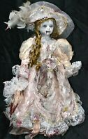 "Victorian Zombie Doll Creepy Horror PORCELAIN Display Prop Gothic 19"" OOAK Dead"