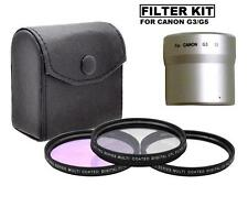 52mm 3 Piece Lens Filter Kit (CPL, FLD, UV) For Canon PowerShot G5 G3