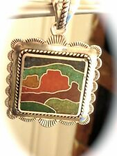 STERLING SILVER Carolyn Pollack Native design coral turquoise gemstones pendant