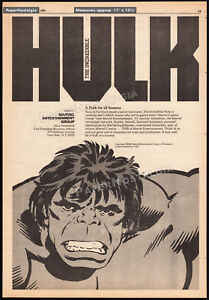The Incredible HULK - MARVEL ENTERTAINMENT__Orig. 1980 Trade AD promo / poster