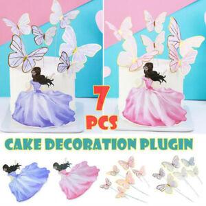 7Pcs Girl Butterflies Cake Toppers Cake Flags Gold Foil Birthday Baking Decor