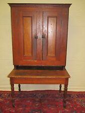 Early 19Th Century Sheraton Pine & Oak Antique Clerks Secretary Desk / Cabinet