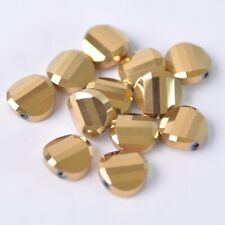 20pcs 14mm Gold Plated Twist Coin Faceted Crystal Glass Loose Beads lot