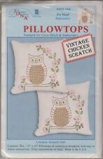 "1 Jack Dempsey ""Chicken Scratch Owls"" Stamped Xstitch & Embroidery Pillow Tops"