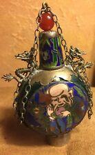 Chinese Ornate Cloisonne Enamel Snuff Bottle Dragons Phoenix Design Vintage