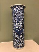 Antique Chinese Blue & White Sleeve / Cylinder Vase c.1890, Kangxi marks on base