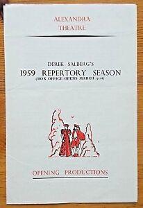 Derek Salberg's 1959 Repertory Season programme Birmingham Alexandra Theatre